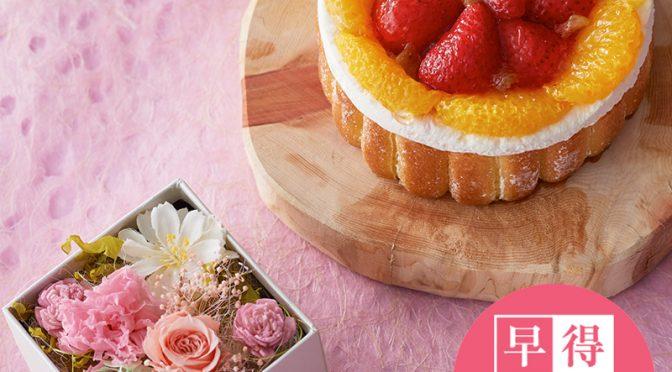母の日ギフトBOX~キューブ~ガトー ブーケとカーネーション&バラ
